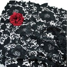 Black Floal Wedding Dress Lace Fabric 120cm Wide | eBay