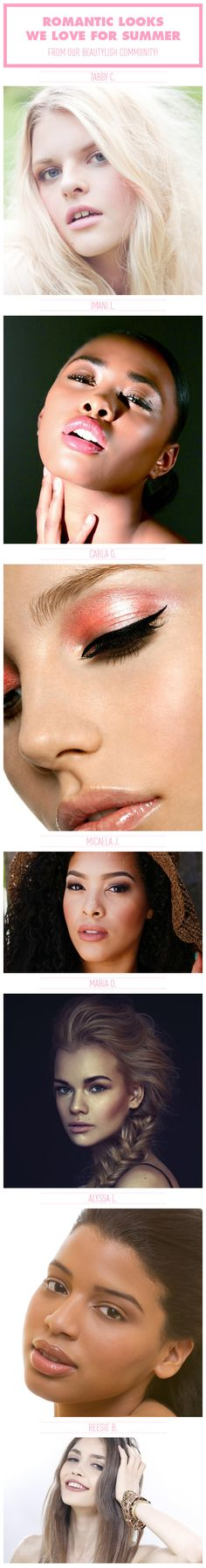 Sometimes a softer, more simple look is just the ticket. Check out our favorite romantic looks from the Beautylish community. Diy Beauty Makeup, Makeup Tips, Hair Makeup, Hair Beauty, Beauty Tutorials, Beauty Hacks, Cute Hairstyles For Summer, High Fashion Makeup, Romantic Look
