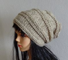 Sacking Winter Hat Autumn Accessories Slouchy Beanie Women Hat Oversized Hat - Chunky Knit - Mens Slouchy oatmeal color or any color on Etsy, $28.00