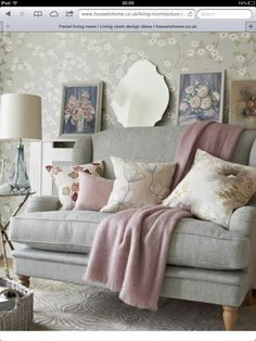 Looking for vintage country living room decorating ideas? Take a look at this country living room from Country Homes & Interiors for inspiration. For more living room ideas, such as how to decorate with vintage furniture, visit our living room galleries Pastel Living Room, Living Room Grey, Home And Living, Living Room Decor, Pastel Room, Country Cottage Living Room, Pastel Decor, Grey Room, Modern Living