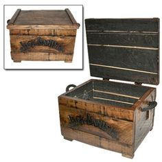 Barrel Wood Storage Chest to use as coffee table on screen porch $75.95