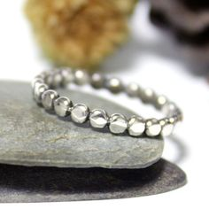 Little Dot Sterling Silver Ring/ Beaded Stacking Ring/ by rosajuri