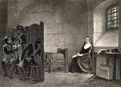 A 19th century engraving of Marie Antoinette in the Conciergerie