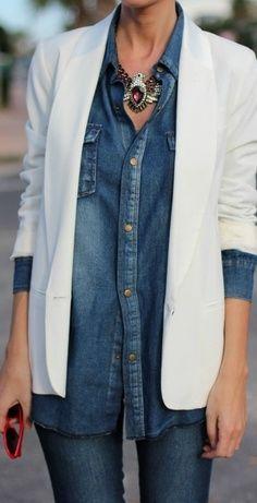 white blazer over denim