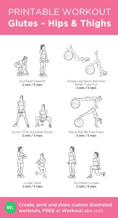 Glutes ~ Hips & Thighs –my custom workout created at WorkoutLabs.com • Click through to download as printable PDF! #customworkout