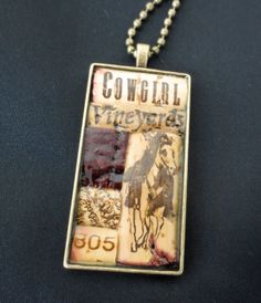 Cowgirls Love Wine Wine Cork Pendant Necklace by WineCorkCouture, $35.00