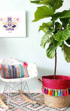 Tassel Basket Planter with tutorial on how to make easy tassels with embroidery floss and jump rings.
