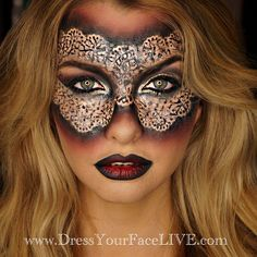 Thank you to all my wonderful #DressYourFaceLIVE members for tuning in to tonight's HALLOWEEN SPECIAL on www.DressYourFaceLIVE.com! As requested, here is the final look on my gorgeous model @emilysears! If you missed this live show of me creating this intricate hand-drawn lace mask on Emily, it's not too late! We will be uploading the video recording onto your member pages shortly (hopefully by later tonight or by tomorrow morning!), and it will be in SUPER HD so you can see every single…