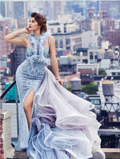 Jacqueline Fernandez looked glamorous posing for our newest couture campaign on the breathtaking New York skyline. The actress looked… Bollywood Celebrities, Bollywood Fashion, Bollywood Saree, Indian Celebrities, Bollywood Actress, Stylish Dresses, Formal Dresses, Nice Dresses, Western Gown