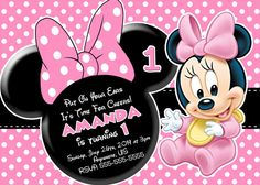 This listing includes a custom minnie mouse birthday invitation in find this pin and more on first birthday ideas for girls baby minnie mouse birthday invitations by xochitlmontana filmwisefo Image collections