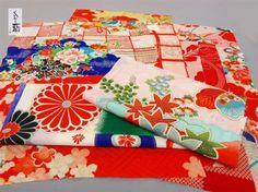 昭和レトロなはぎれ・おまかせセット 正絹・人絹ミックス 1セット12枚入り