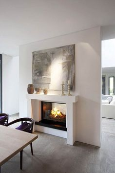 latest pictures open fireplace ideas work A tunnel fireplace in a wall pane . latest pictures open fireplace ideas work A tunnel fireplace in a wall between living and dining ro Fireplace Console, Open Fireplace, Living Room With Fireplace, Fireplace Ideas, Fireplace Modern, Fireplace Pictures, Dining Room, House, Home Decor
