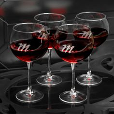 Personalized Connoisseur Red Wine Set-Specially designed for that favorite red vintage, our quartet of four personalized red wine glasses will please the wine connoisseur in your life. Attractively personalized with a modern script-style monogram, th Monogrammed Glasses, Personalized Wine Glasses, Personalized Gifts, Personalized Wedding, Engraved Gifts, Wine Tote Bag, White Wine Glasses, Wine Glass Set, Etched Glass