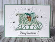 Santa's Sleigh Christmas card using Santa's Sleigh Thinlets and Presents and…