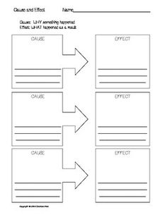 Students will enjoy using these graphic organizers to illustrate and write their own cause and effect relationships. Included are four variations of cause and effect graphic organizers using arrows. Use them along with lessons to differentiate instruction and as an assessment piece.  **Can be used at multiple grade and ability levels. .