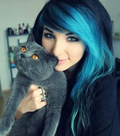Love the blue/black hair and the Russian blue cat too!