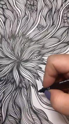 Zentangle Drawings, Zentangle Patterns, Zentangles, Art Drawings Sketches Simple, Pencil Art Drawings, Tatuagem Pin Up, Mandala Art Lesson, Doodle Art Designs, Tangle Art