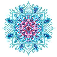 Blue Watercolor Mandala Print #mandala #watercolor #society6                                                                                                                                                                                 More