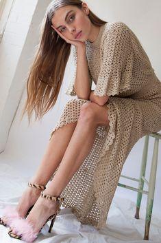 Liana Gold Crochet Dress - Hansen & Gretel