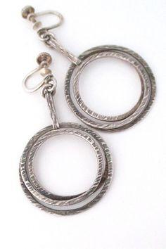 Elis Kauppi for Kupittaan Kulta Finland vintage Scandinavian Modernist silver earrings