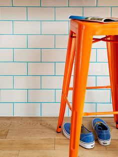 White subway tile, a kitchen and bath staple, feels fresh when grout gets a kick from adding pigment, like this turquoise. Try Colorants' 1-pound blue cement and grout pigment.
