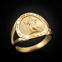 Gold St. Christopher Ladies Medallion Ring