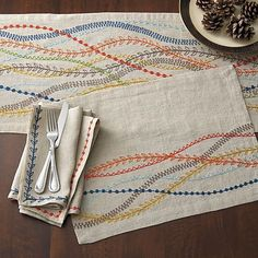 Linen napkin, embroidery setting on the Bernina? Marianna Linen Placemat and Marianna Dot Linen Napkin | Crate and Barrel