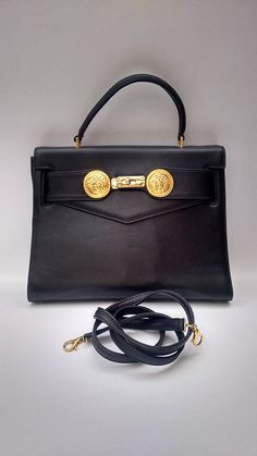 VERSACE Gianni Versace Vintage Black Leather Vintage Shoulder