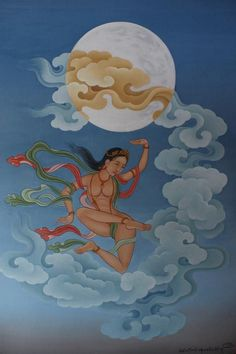 Dakini and Moon by Tenzin Norbu Dolpo