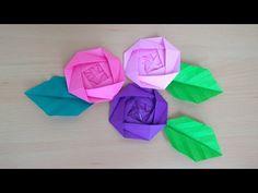 折り紙 バラの花と葉 簡単な折り方(niceno1)Origami Roses flower and leaves - YouTube