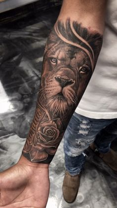 Realism black and gray custom lion and rose tattoo Fayetteville NC tattoo old school tattoo arm tattoo tattoo tattoos tattoo antebrazo arm sleeve tattoo Hand Tattoos, Lion Forearm Tattoos, Lion Head Tattoos, Mens Lion Tattoo, Forarm Tattoos, Tattoos Arm Mann, Best Sleeve Tattoos, Tattoo Sleeve Designs, Forearm Tattoo Men