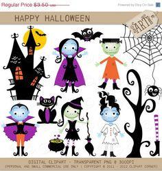 ON SALE Digital Clipart  Happy Halloween DC5664  by MyClipArtStore, $1.75