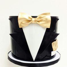 Tuxedo cake by 50th Birthday Cakes For Men, Golden Birthday Cakes, 40th Cake, 40th Birthday, Glamour Cake, Chanel Cake, Tuxedo Cake, Cakes For Women, Character Cakes