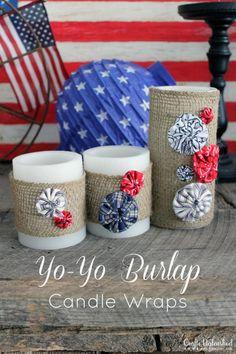 Burlap candle wraps