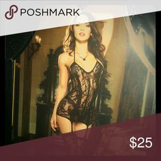 Dreamgirl Lingerie Lace fishnet halter garter dress with opaque bodice style lines adjustable halter ties and attached stockings. One-size-fits-most. Intimates & Sleepwear