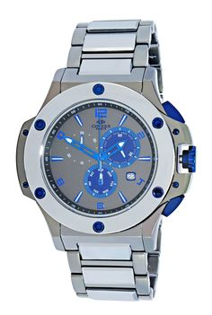 Oniss ON612-19BS Men's Watch Blue Accents Stainless Steel / Tungsten Swiss Chronograph Watch