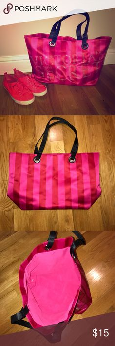Victoria's Secret Tote Perfect size for overnight and travel. Not really used. One or two times. Shoes pictured with it for size reference. Victoria's Secret Bags Totes