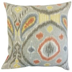 Bold and eccentric, this throw pillow is a must-have for your interiors. This square pillow features a unique ikat-inspired pattern in shades of gray, yellow, orange and white hues. Adorn your sofa, bed or seat with a few pieces of this eccentric decor pillow. Made of 100% high-quality linen fabric. Crafted in the USA. $55.00 #ikatpillow #pillows #graypillow #homedecor #interiorstyling