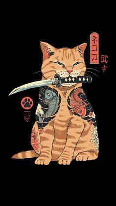 Catana by Vincent Trinidad Samurai cat with a katana Japanese Tattoo Art, Whatsapp Wallpaper, Japanese Cat, Cute Poster, Samurai Art, Samurai Tattoo, Poster Prints, Art Prints, Block Prints