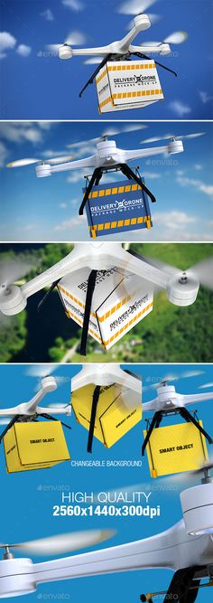 Delivery By Drone Package MockUp — Photoshop PSD #package #fly • Available here → https://graphicriver.net/item/delivery-by-drone-package-mockup/10819302?ref=pxcr