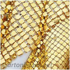 Metal Mesh Fabric - 18k Gold Plated -114x68mm - 2pcs