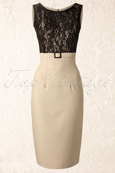 Daisy Dapper - Vicky Pencil Dress in Beige Vintage Outfits, Classy Outfits, Beautiful Outfits, Vintage Dresses, Dresses For Teens, Nice Dresses, Casual Dresses, Fashion Dresses, Dresses For Work