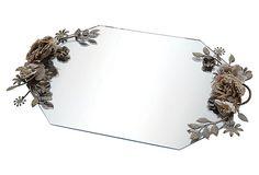 17x12 Beveled Glass Tray w/ Handles  | Grandin Road Color Crush on Purple Thistle