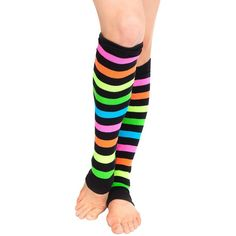 Neon Rainbow Legwarmers, 3931, multi-colored, One-Size at Amazon... ($6.95) ❤ liked on Polyvore featuring intimates, hosiery, rainbow leg warmers, colorful leg warmers and neon leg warmers