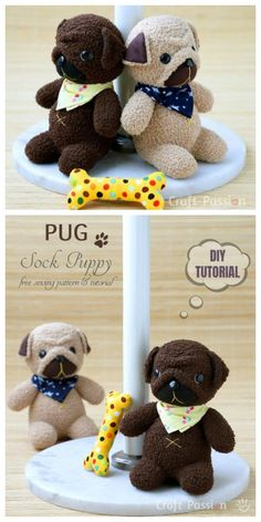 cute pug puppies 20 Adorable Sock Toys DIY Tutorials You Will Love to Make Diy Sock Toys, Sock Crafts, Diy Toys, Fun Crafts, Crafts For Kids, Homemade Stuffed Animals, Sock Dolls, Sewing Toys, Knitting Toys