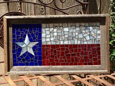 Stained Glass Texas Flag Mosaic  Wall Hanging  by MosaicsbyJillAyn