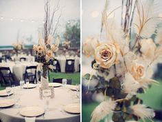 I really like the branches incorporated into these centerpieces
