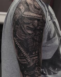 Samurai, done by Stefan Müller Black Rainbow Tattoo Theatre Zwickau Warrior Tattoo Sleeve, Samurai Tattoo Sleeve, Samurai Warrior Tattoo, Warrior Tattoos, Dragon Tattoo Chest, Dragon Sleeve Tattoos, Japanese Sleeve Tattoos, Full Sleeve Tattoos, Cool Arm Tattoos