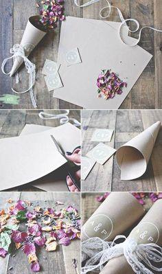 Rose Petals Wedding, Diy Wedding Flowers, Wedding Confetti, Diy Flowers, Wedding Ceremony Ideas, Diy Confetti Cones, Confetti Ideas, Burlap Lace, Decorations