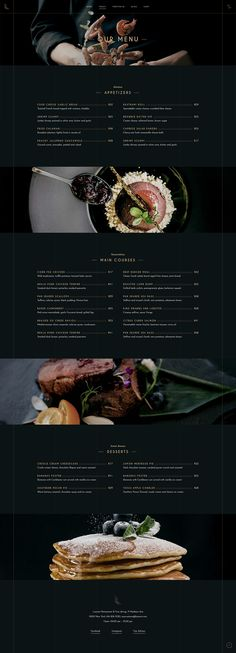 Make a delightful showcase of your delicious dishes in no time with Laurent WordPress theme. Website Menu Design, Restaurant Website Design, Cafe Menu Design, Website Ideas, Best Restaurant Websites, Restaurant Themes, Restaurant Menu Template, Menu Layout, Layout Template